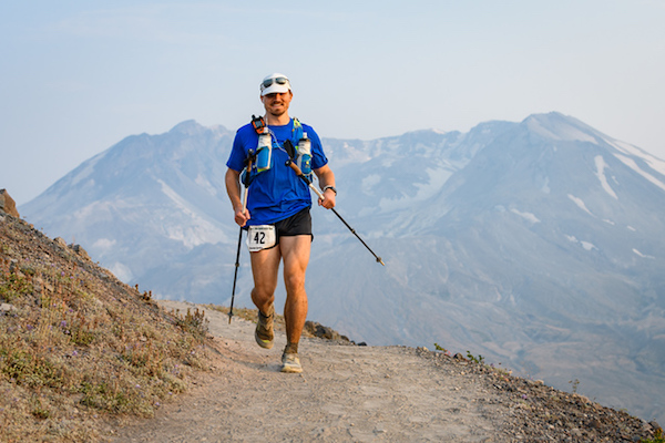 Image from Johnston Ridge of myself running and the crater.