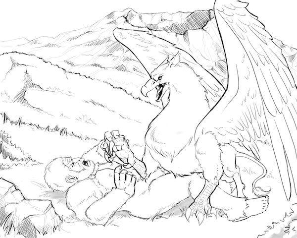 A view of a griffin and bigfoot locked in a tussle